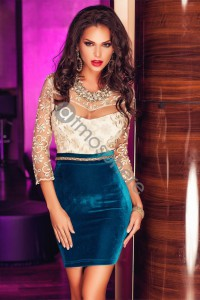 Robe bustier blanche et turquoise Réf : RN467