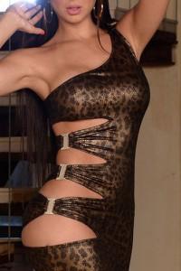 Robe métal léopard ouverte