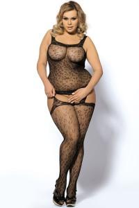 Combinaison sexy bodystocking grande taille motifs léopard, noir