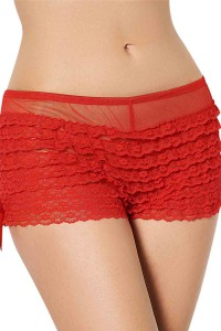 Shorty rouge en dentelle