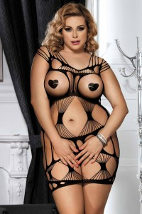 Robe sexy grande taille en résille, noir