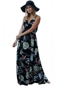 Dark Foiled Flower Print Sexy V Neck Maxi Dress