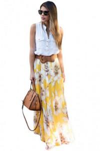 Yellow Blossoming Floral Chiffon Maxi Skirt