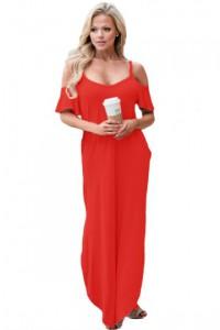 Red Sassy Open Shoulder Maxi Dress