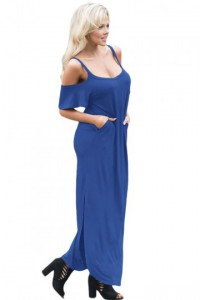 Blue Sassy Open Shoulder Maxi Dress