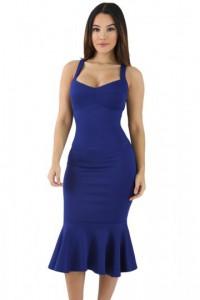 Robe moulante bleu de sirène élégante