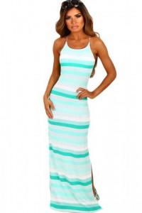Mint and White Stripe Jersey Maxi Bohemian Dress