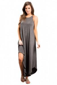 Dark Gray Sexy Chic Sleeveless Asymmetric Trim Maxi Dress