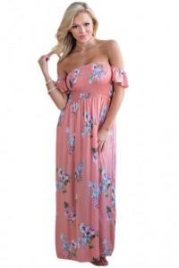 Pink Floral Print Elastic Bandeau Top Off Shoulder Boho Maxi Dress
