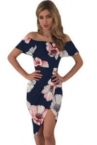 Navy Floral Ruffle Off Shoulder Wrap Boho Dress