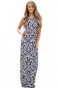 Black Contrast Damask Print Sleeveless Long Dress