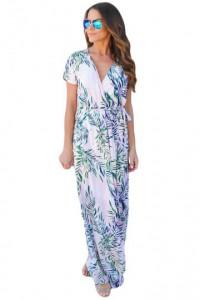 White Tropical Printed Wrap Maxi Dress