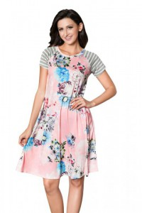 Pink Backdrop Floral Print A-line Loose T-shirt Dress