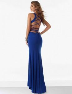 Robe longue coupe sirène, bleu