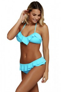 Blue Chic Ruffle Detail 2pcs Halter Bikini Swimsuit