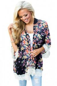 Crochet Lace Detail Floral All Over Kimono