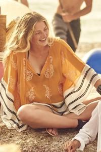 Robe de plage asymétrique, imprimé fantaisie