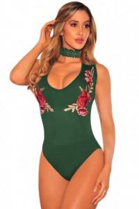 Body string à fleurs brodées- Vert