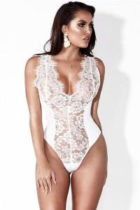 Body string en dentelle mélangée, blanc