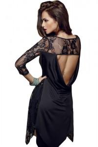 Robe asymétrique en dentelle, noir