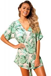 Robe de plage motif tropicale verte et blanche