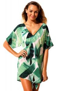 Robe de plage blanche et verte motif tropical