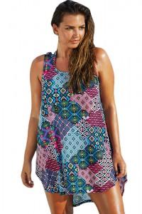 Bluelish Boho Style Sheer Chiffon Beach Dress