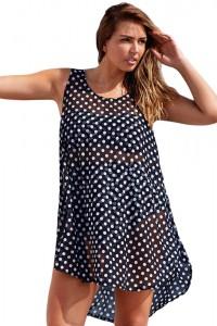 Monochrome Boho Style Sheer Chiffon Beach Dress