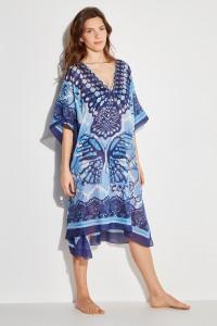Poncho bleu motif papillon