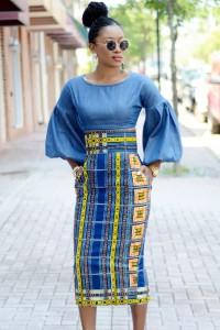 Stylish African Print High Waist Bodycon Pencil Skirt