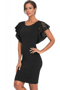 Black O-Neck Hollow Out Cloak Sleeve Bodycon Mini Dress