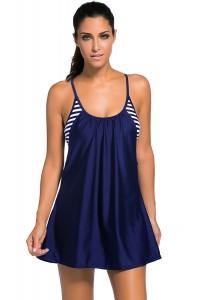 Blue Flowing Swim Dress Layered 1pc Tankini Top