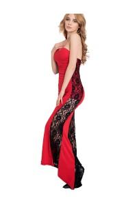 Robe longue rouge avec dentelle noire