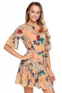 Robe d'été courte manche 3/4 imprimée floral abricot