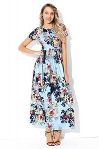 Robe longue d'été bleue manches courtes imprimée floral