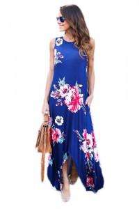 Robe longue d'été bleue bretelles larges imprimée floral