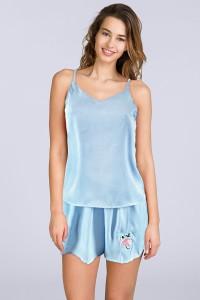 Pyjashort caraco bleu