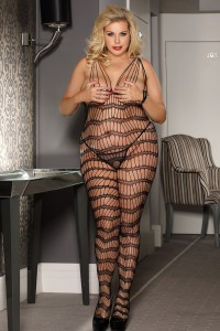 Combinaison sexy bodystocking motifs rayés, noir grandes tailles