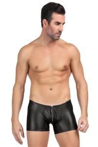 Shorty noir PVC homme avec zip argenté