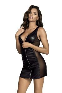 Robe noire effet pvc avec zip