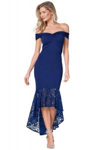 Robe de soirée bleue avec dentelle sur le bas