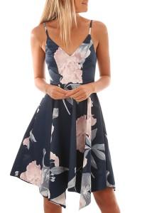 Robe fleurie asymétrique