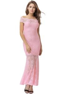 Robe longue en dentelle rose