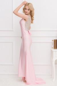 Robe de soirée rose bonbon dos paillettes