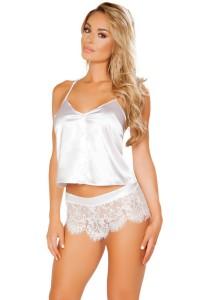 Ensemble pyjama blanc satiné et dentelle