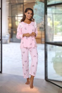 Pyjamas rose motifs macarons