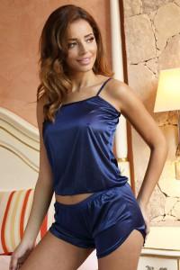 Pyjashort caraco bleu marine satiné