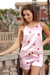 Pyjashort caraco rose imprimé fraise