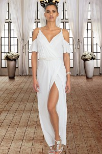 White Cold Shoulder Long Jersey Dress