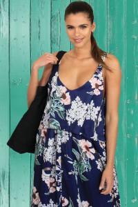 Robe longue d'été bleue marine à bretelles imprimée floral